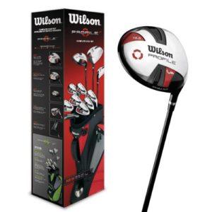Wilson WGG157240 Ensemble Complet pour Débutant, 11 Clubs de Golf avec Sac Trépied, pour Homme (Main Gauche), Profile VF, Noir/Gris/Rouge
