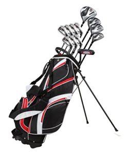 18pièces Ensemble de clubs de golf complet pour homme avec Titanium Driver, # 3et # 5Bois de parcours, # 4, hybride 5-SW Fers, putter, Sac de golf avec support, 4H/C – Couleurs et dimensions au choix, Red, Main droite
