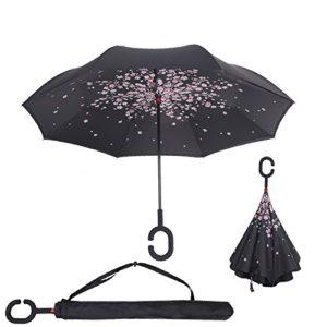 Baby Pig Parapluie, avec mécanisme d'ouverture inversé, double épaisseur, résistant au vent et poignée en forme de C – Très pratique en cas de forte pluie – 106 cm, fleur de cerisier