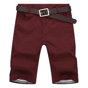 Bovake Shorts Hommes, Mode d'été Pure Couleur Sport Loisir Zipper Fitness Running Pantalon Décontracté Shorts (Rouge, M)