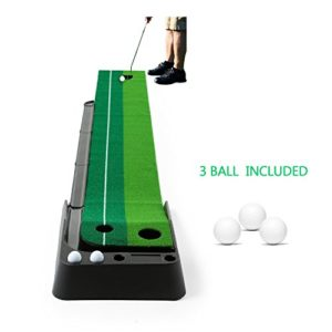 Golf Putting Mat,JBSON Intérieur Golf Training Mat Putting Green Systeme Professionnel Golf Practice Mat avec 3 Boules de Pratique (9,8 ft x 0,98 ft)