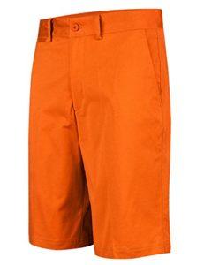Lesmart Homme Short Golf Chino Coton Stretch Ete Pantalon Bermudas Slim Travail FR 42=US 32» Taille 44cm Orange