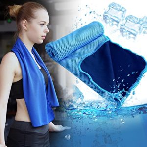 MUNION Serviette Froide Instantanée pour Sport–100cm x 30cm, baisser la température, absorber la sueur, rafraîchir le corps instantanément, serviette pour sport (bleu)
