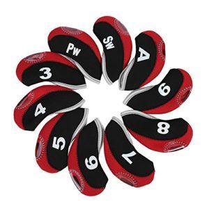 Dioche 10 Pcs Tête de Club de Golf, Capuchon de Golf Housse de Tête de Golf Couvre-Fer Golf avec des Numéros(Rouge)
