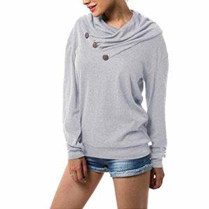Femme Pulls Casual Chemises à Manches Longues T-Shirt Irrégulier Pull-Over Tops Hauts Couleur Unie Shirt Élégant Gris Sweatshirt S-XXL
