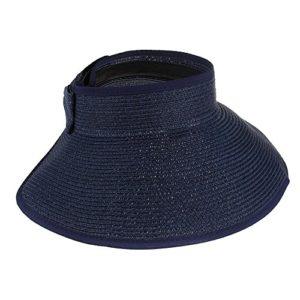 fletion femmes filles pliable Rouleau jusqu'Plage Soleil Visière Large Nœud Papillon bord paille chapeaux Conseillers Bleu marine Bleu roi