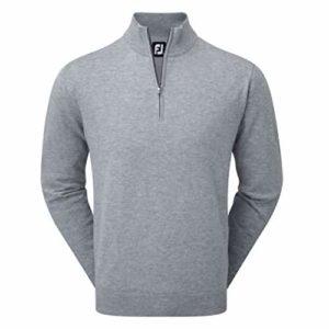 Footjoy Lambswool 1/2Zip Lined Pullover Pull de Golf, Homme S Gris