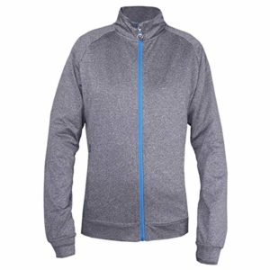 Island Green Golf Ladies Contrast Full Zip Flexible Thermal Breathable Ultra Light Top Haut Femme, Gris chiné, Taille 46