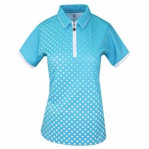 Island Green Golf Ladies Sublimated Zip Neck Breathable Moisture Wicking Flexible Polo Shirt Femme, Piscine Profonde/Blanche, 38
