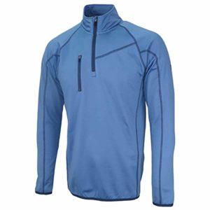 Island Green Golf Mens Zip Neck Breathable Flexible Thermal Moisture Wicking Top Layer Haut Femme, Bleu puriste, XL