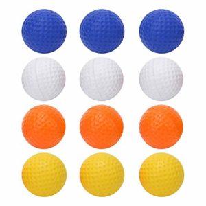 AMONIDA Balle de Pratique colorée 12Pcs, Balle pour Enfants, pour Les Amateurs de golfeurs, Exercices pour Enfants, entraînement, Sports d'intérieur