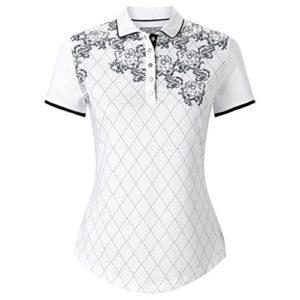 Callaway Floral Argyle Polo de Golf, Femme L Blanc