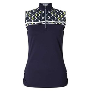 Callaway Medallion Print Mock Sleeveless Polo de Golf, Femme L Bleu