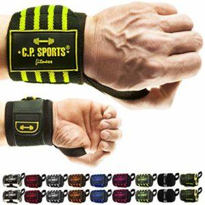 C.P.Sports Bandages de poignet Fitness L'original, bandages de bodybuilding, bandages de poignet, crossfit, sports de force, hommes, femmes, jaune fluo 50 cm