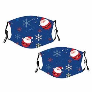 DOLLAYOU 2pc Élément de Noël de dessin animé adulte impression foulard réglable lavable (A)