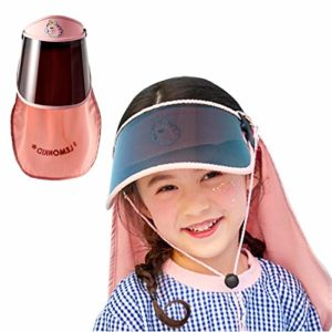 DRAKE18 Chapeau de Protection à visière 3 en 1 Chapeau Serre-tête de Protection UV avec écran Facial et châle Conception Amovible Pare-Soleil antipoussière pour Les Voyages en Plein air,Rose