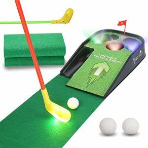 Ensemble De Jouets De Golf pour Enfants, Aide À La Formation pour La Pratique du Mini-Golf avec Sons, Balle De Club Jouets De Sport Parent-Enfant pour Enfants Jeu Extérieur Intérieur