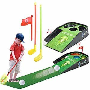 Ensemble De Jouets De Golf pour Enfants, Jouets De Golf Costume De Banc Pratique Golf pour Enfants avec Musique Sonore Accessoires pour Entraîneurs Sport pour La Maison Le Bureau L'extérieur