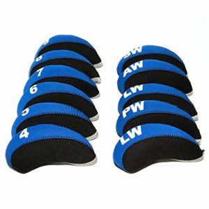 FLTRAD Lot de 10 housses de protection pour clubs de golf en fer 3-9 A/SW/PW en néoprène élastique réutilisé avec étiquette numérotée, noir/bleu