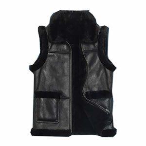 Gilet Multi-Poches pour Hommes d'hiver, Veste Souple à Poches Chaudes et Pratiques, Gilet sans Manches en cuir-black-52/180