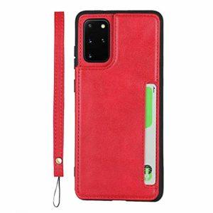GIMTON Coque Galaxy S20 Plus, Antichoc Coque Arrière en PU Cuir y TPU, Portefeuille Housse avec Fonction Stand y Sangle à Main pour Samsung Galaxy S20 Plus, Rouge
