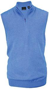 Greg Norman Gilet sans manches pour homme en coton Pima Fermeture Éclair 1/4 L Bleu – Tidal Heather