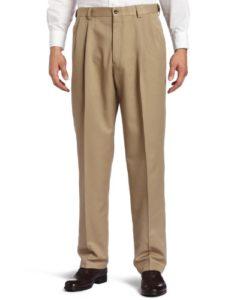 Haggar Men's Big-Tall Cool 18 Gabardine Hidden Expandable Waist Pleat Front Pant, British Khaki, 56×32