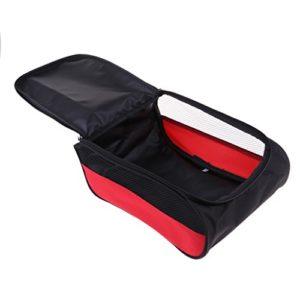 Homyl Sac à Chaussures de Golf Sport Foot Basketball avec Poignée à Main et Fermeture à Glissière – Noir + Rouge Net Side, 13x9x5in