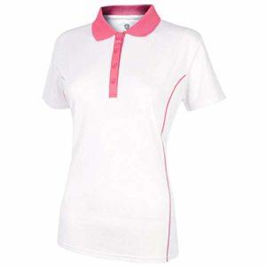 Island Green IGLTS1882 Polo de Golf pour Femme Blanc/Rose Taille 16