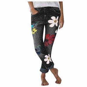 KEERADS Jeans Femme Haute Slim Grande Dechire Pas Cher Bootcut Troue Dentelle,Jeans Femme Taille Haute Pas Cher