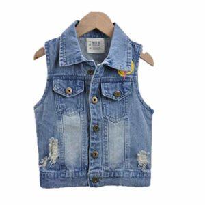 Korean Casual Smile Print Denim Jacket Mode Unisexe Vestes Enfants Vêtements Vest Automne Blue 24M