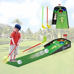 LAYX Enfants Golf Putting Green & Mat Intérieur, Conducteur en Plastique Golf Club Training Aids Enfants Sport Pratique Équipement Putting Green Mat Cadeau pour Les Garçons Age 4, 5, 6