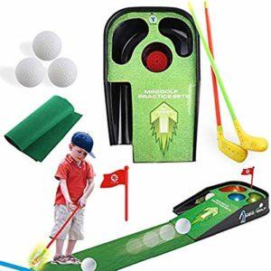 LAYX Kids Golf Mat Golf Putting Mat Putting Green, avec des Sons Lumières LED Putting Équipement Pratique Fun Jouet pour Les Enfants Golf Indoor