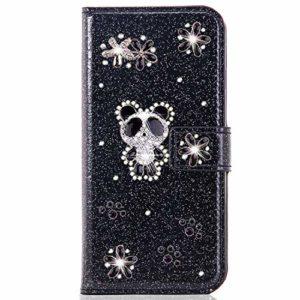Miagon pour Samsung Galaxy A20 Portefeuille Coque,3D Glitter PU étui en Cuir Diamant Fermoir Magnétique Stand Strass Housse,Panda Noir