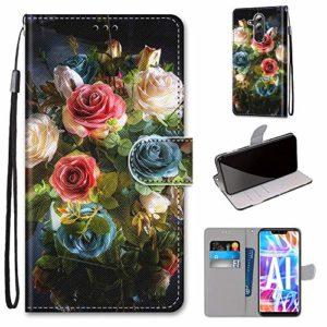 Miagon PU Cuir Coque pour Huawei Mate 20 Lite,Coloré Motif Portefeuille Étui Housse Cover avec Stand Support Porte-Cartes de Crédit,Floraison Fleur