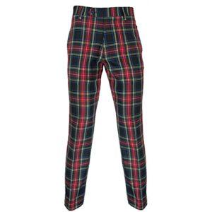 Murray – Pantalon de Golf – Entrejambe 79 cm (31») – Tartan Stewart Noir/Rouge – US32