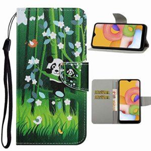 Nadoli Flip Housse pour Huawei Y6 2019,Drôle Bambou Panda Modèle Magnétique Fonction de Support Coque Étui Portefeuille en Cuir avec Fentes pour Cartes