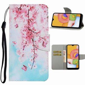 Nadoli Flip Housse pour Huawei Y8P,Joli Fleur de Cerisier Modèle Magnétique Fonction de Support Coque Étui Portefeuille en Cuir avec Fentes pour Cartes