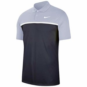 Nike Dri-fit Victory Polo pour homme, Homme, Polo, Men's Nike Dri-fit Victory Color-block Polo, Gris ciel/obsidienne/blanc/blanc., Small