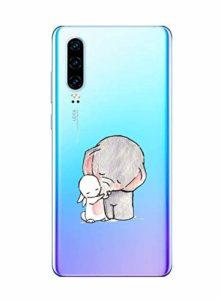 Oihxse Compatible pour Huawei P Smart/Enjoy 7S/Honor 9 Lite Coque [Mignon Transparente Éléphant Lapin Motif Séries] Housse TPU Souple Protection Étui Ultra Mince Anti Choc Animal Case (A2)