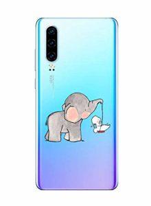 Oihxse Compatible pour Huawei P9 Coque [Mignon Transparente Éléphant Lapin Motif Séries] Housse TPU Souple Protection Étui Ultra Mince Anti Choc Animal Case (A4)