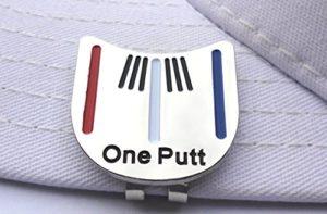 One Putt marqueur de Balle de Golf Bleu Blanc Rouge Stipes et Chapeau magnétique Clip