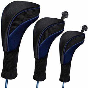 Plztou 3pcs Long Neck Golf Head Covers, No. Interchangeable Golf Club Head Set Couvre Unique Fairway et Pilote (Couleur : Bleu)