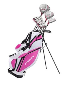 Precise Premium Ladies Womens Complete Golf Clubs Set Includes Driver, Fairway, Hybrid, S.S. 5-PW Irons, Putter, Stand Bag, 3 H/C's (Pink, Right Hand Petite Size -1″)