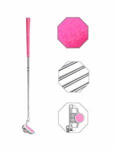 Putter de golf junior en acier inoxydable pour droitier 3 tailles au choix, Tête rose + poignée rose., 29inch,Age 9-12