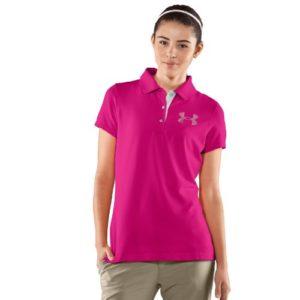 Under Armour UA Polo pour Femme Logo clouté pour Femmes Taille SS Rose Small