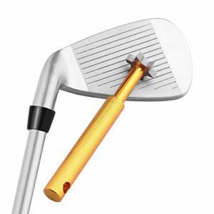 Yandu Golf Cleaner Club de Golf Groove Sharpener pour Tous Les fers Pitching Sand Lob Gap et Cales d'approche et Clubs Utilitaires (Gold)