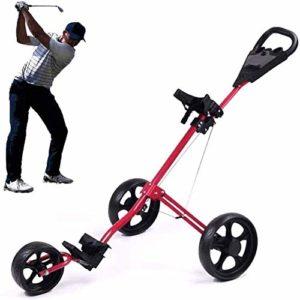 ZWJ-Chariot de Golf Chariot de Golf, léger et Pliable voiturette 3 Roues Golf Push Cart, avec poignée réglable Push, Frein à Pied, et Tableau de Bord, Une Seconde for Ouvrir la liste Fermer
