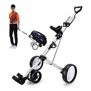 ZWJ-Chariot de Golf Golf Chariot 4 Roues Golf Push Cart avec Porte-gobelet et Rack Tableau de Bord, Pliant Pull Portable Panier Caddy Club de Sac Trolley, Facile et Carry Assemblée