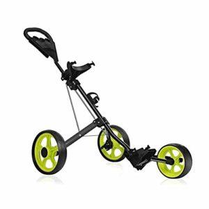 ZXSZX Chariot Golf, Chariot Golf pour Sac Golf, Voiturettes Golf Pousser 3 Roues Pliables, pour Hommes Femmes Accessoires Et Nécessités De Chariot Golf, Ouverture Facile,Green